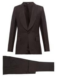 Dolce And Gabbana Single Breasted Silk Jacquard Three Piece Suit Black
