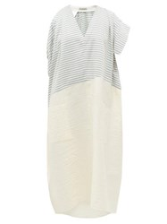 Vika Gazinskaya Asymmetric Striped Cotton Blend Midi Dress Blue White
