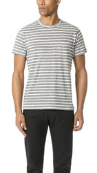 Todd Snyder Wide Stripe Button Pocket Tee Grey Heather
