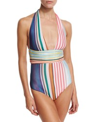 Missoni Mare Striped Halter One Piece Swimsuit Multicolor