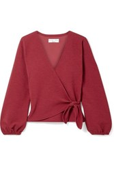 Madewell Miller Stretch Crepe Wrap Top Claret
