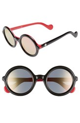Moncler Women's 50Mm Gradient Lens Round Sunglasses Black Red Fuchsia Mirror Black Red Fuchsia Mirror