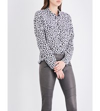 The Kooples Daisy Print Silk Crepe Shirt Bla01