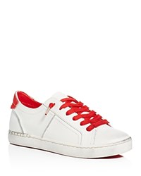 Dolce Vita Zalen Calf Hair Tab Lace Up Sneakers White Red