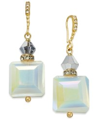 Inc International Concepts Gold Tone White Stone Square Drop Earrings Only At Macy's