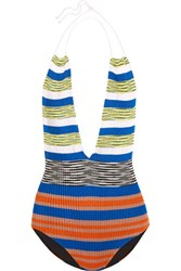 Missoni Mare Cutout Striped Crochet Knit Halterneck Swimsuit Blue