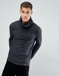 Tom Tailor Sweat With Funnel Neck In Charcoal With Black Print Grey
