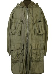 Juun.J Hooded Military Jacket Green