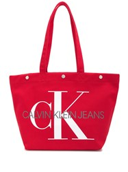 Ck Calvin Klein Jeans Utility Tote Bag Red