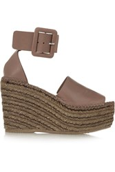 Paloma Barcelo Leather Espadrille Wedge Sandals Brown