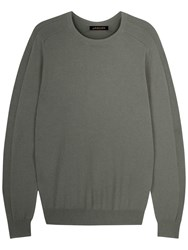 Jaeger Integral Rib Crew Neck Jumper Green