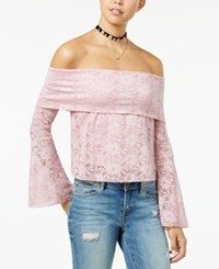 American Rag Juniors' Lace Off The Shopulder Crop Top Created For Macy's Pink