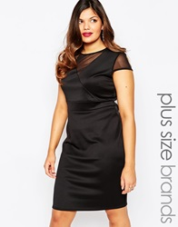 Lipstick Boutique Plus Pencil Dress With Mesh Detail Black