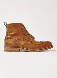 Topman Brown Tan Leather Royal Brogue Boots