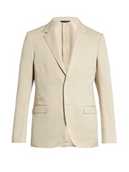 Calvin Klein Single Breasted Cotton And Linen Blend Blazer Beige