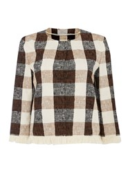 Marella Gallico Longsleeve Gingham Jacket With Frayed Hem Tobacco