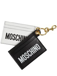 Moschino Double Logo Print Leather Card Holders White