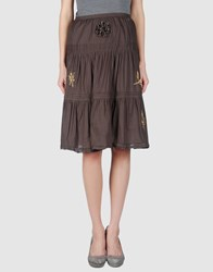 Fairly Skirts Knee Length Skirts Women Dark Brown