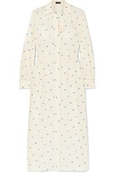 Joseph Turner Printed Ribbed Silk Dress White