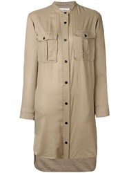 Etoile Isabel Marant Long Sleeve Shirt Dress Nude Neutrals