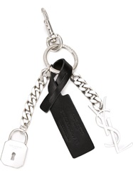 Saint Laurent Charm Key Ring Metallic