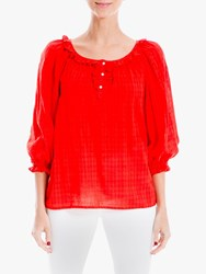 Max Studio Long Sleeve Ruffle Neck Top Red