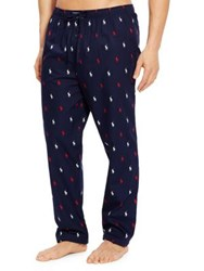 Ralph Lauren Pony Print Cotton Pajama Pants Cruise Navy
