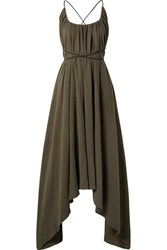 Caravana Takax Leather Trimmed Asymmetric Cotton Gauze Maxi Dress Army Green