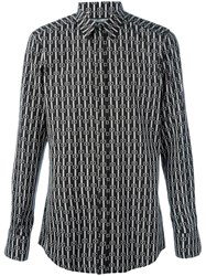 Dolce And Gabbana Geometric Pattern Print Shirt Black