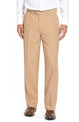 Men's Big And Tall Linea Naturale Wrinkle Free Micro Twill Pants Camel