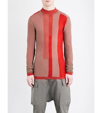 Rick Owens Panelled Semi Sheer Cotton Top Dna Red Check