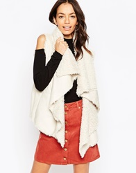 New Look Suedette Waterfall Gilet Cream