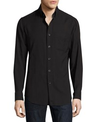Tom Ford Cotton Cashmere Washed Twill Shirt Navy No Color