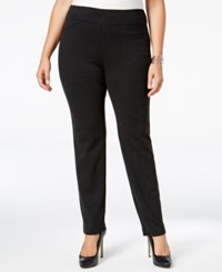 Charter Club Plus Size Pull On Houndstooth Slim Leg Pants Only At Macy's Deep Black Combo