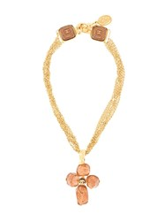 Chanel Pre Owned Stone Motif Chain Pendant Necklace Gold