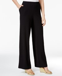 Jm Collection Petite Pull On Wide Leg Crinkle Pants Only At Macy's Deep Black