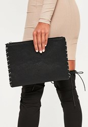 Missguided Black Rope Edge Clutch Bag