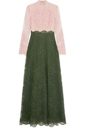 Valentino Two Tone Guipure Lace Maxi Dress Pastel Pink