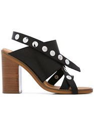 Maison Martin Margiela Mm6 Criss Cross Sandals Women Leather Metal Rubber 38 Black