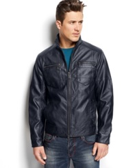 Inc International Concepts Berris Faux Leather Jacket Navy