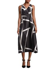 Lk Bennett Aine Striped A Line Midi Dress Black