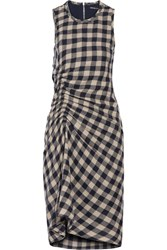 James Perse Ruched Checked Wool And Linen Blend Dress Navy
