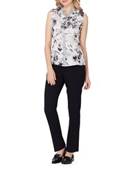 Tahari By Arthur S. Levine Floral Printed Sleeveless Top Grey Black