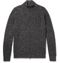 Brunello Cucinelli Cable Knit Melange Wool Blend Zip Up Cardigan Gray