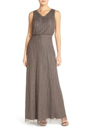 Candela 'Antibes' Beaded V Neck Gown Nordstrom Exclusive Gray