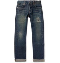 Visvim Social Sculpture 01 Slim Fit Distressed Selvedge Denim Jeans Indigo