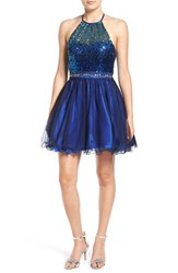 Steppin Out Women's Sequin Halter Two Piece Skater Dress