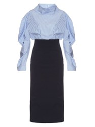 A.W.A.K.E. Preppy Funnel Collar Midi Dress Light Blue