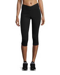 Yummie Tummie Candace Shirred Hem Capri Leggings Black