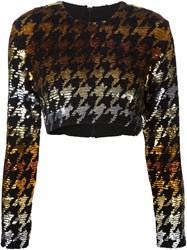 Ashish Sequin Houndstooth Crop Top